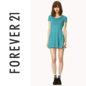 F21 Teal skater T-shirt Dress